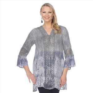 Super-Cute 3/4 Sleeve Tie Tye Tunic - Grey / Blue